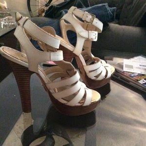 Bebe White Platform High Heels
